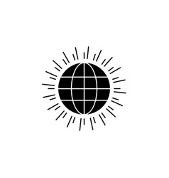 global sun world icon on white background can vector image