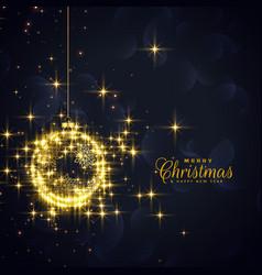 Golden christmas balls made with sparkles vector