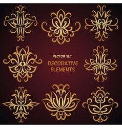 Golden decorative desigh elements vector