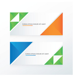green blue orange triangle banner vector image