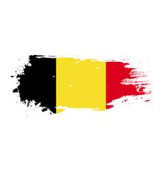 grunge brush stroke with belgium national flag vector image