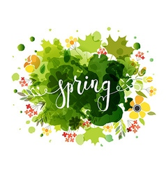 Hand sketched Spring text as logotype badge and vector image