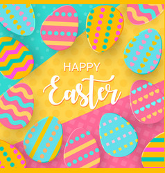 Happy easter greeting banner with a lettering vector