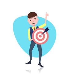 Happy man character holding target arrow goal vector