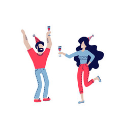 happy people at birthday party isolated on vector image