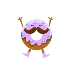 Humanized Doughnut With Violet Glazing And vector
