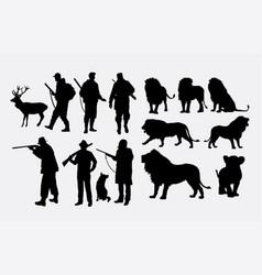 hunter animal silhouettes vector image