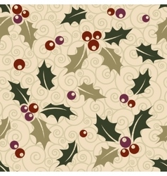 Ilex seamless Christmas background vector