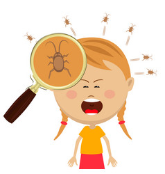 Lice in the head of cryng little girl vector