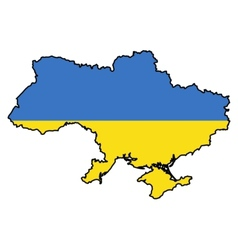 Map in colors of Ukraine vector image