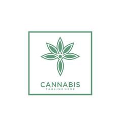 Marijuana cannabis for cbd logo design vector