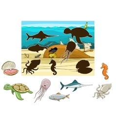 Match animals and fish to their shadows vector