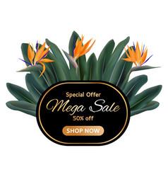 mega sale garden tropical plants tag vector image