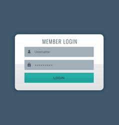 Modern login user interface design template vector