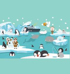 North pole artic animals background vector