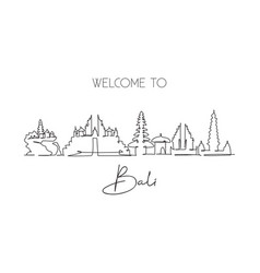 one continuous line drawing bali city skyline vector image