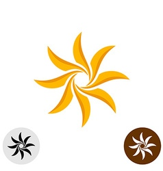 Orange elegant sun logo Eight sharp blades vector image