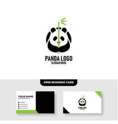 panda logo template free business card mockup vector image