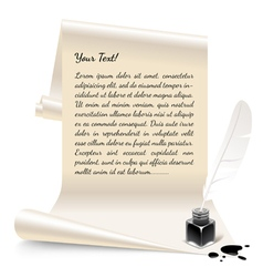 Paper with an inkwell and feather vector