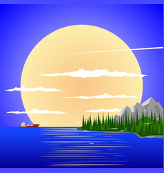 Peaceful landscape against the sunset vector