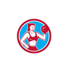 Personal Trainer Female Lifting Dumbbell Circle vector image