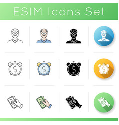Pesion fund icons set vector