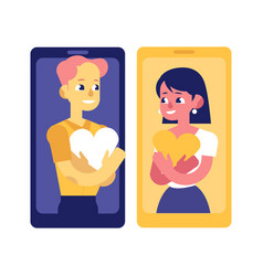 Phone love and relationships on distance concept vector