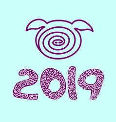 pig icon isolated 2019 happy new year vector image