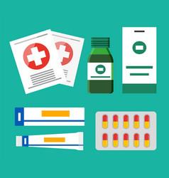 pills blister and glass bottles vector image