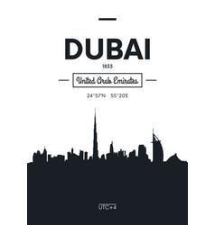 poster city skyline dubai flat style vector image