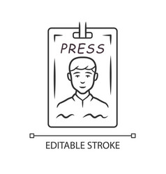Press pass linear icon journalist reporter id vector