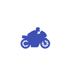 Rider on sport motorcycle icon on white vector