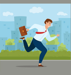Running businessman with briefcase in hand a vector