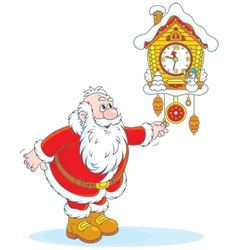 Santa Claus winds a cuckoo-clock vector