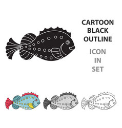 sea fish icon in cartoon style isolated on white vector image
