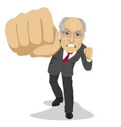 senior angry business man punching to front vector image