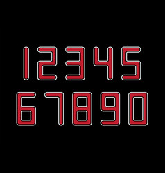 set numbers with red and white typography vector image