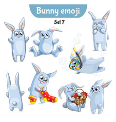 set of cute rabbit characters set 7 vector image