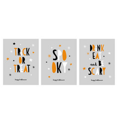 set of funny halloween cards with quotes vector image