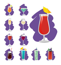 Set of glossy cups with different drinks banner vector