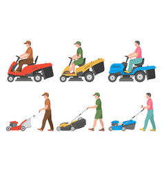 set of man with lawnmower vector image