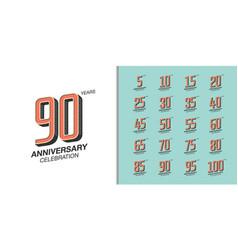 Set premium anniversary logotype retro vector