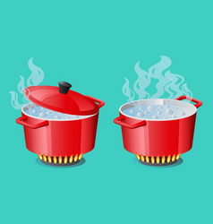 set red pans with boiling water opened and closed vector image