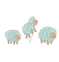 set sheeps vector image