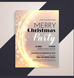 shiny merry christmas snowflakes party flyer vector image