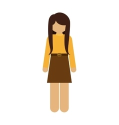 Silhouette woman with skirt and belt vector