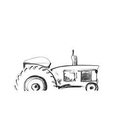 Sketch of tractor cartoon farm logo agricultural vector