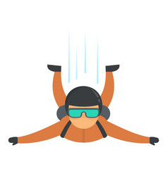 skydiver flying icon flat style vector image