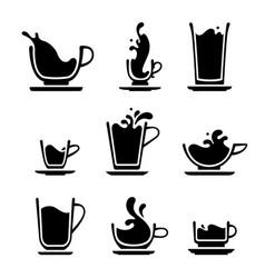 splash cup tea or coffee vector image