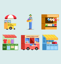 Street vendor variety collection set vector